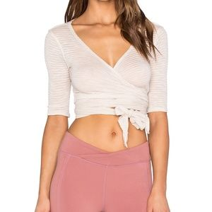 FREE PEOPLE GISELLE WRAP TOP IN SOFT PINK - NWOT